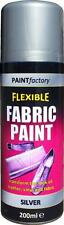 x3 Silver Fabric Spray Paint Leather Vinyl Art & Crafts Flexible 200ml 5 Colours