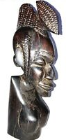 """Vintage African Tribal Sculptures 11"""" tall Figure Carved Wood Home Decor"""