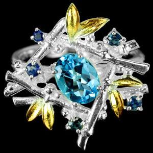 GENUINE AAA SWISS BLUE TOPAZ & BLUE SAPPHIRE STERLING 925 SILVER RING SIZE 7.75