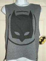 New Juniors Large 11-13 Batman Sleeveless T-Shirt Tank Top Gray Black Mask