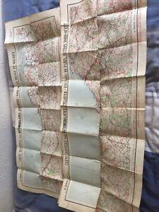 2 Vintage Fold Up Maps France Belgium & Northern France Routes To Paris
