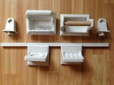 Vintage Bathroom Fixture Set White Speckled High Gloss Ceramic 60s Soap Dish etc