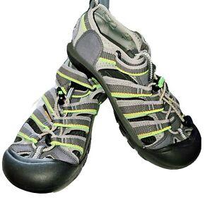 KEEN Gray/Neon Green Waterproof Sandals Shoes Youth Unisex Boys Girls Sz 5 / 37