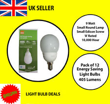 PACK OF 12 X 9 WATT SES LOW ENERGY GOLF BALL BULB A RATED 10000 HOUR A RATED NEW