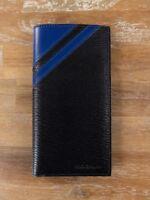 0cb54de13b154 SALVATORE FERRAGAMO black and blue leather chest wallet authentic - New in  Box