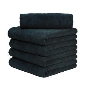 "5 Pcs Microfiber Towel Edgeless Scratch Free Cleaning Clothes 16""x16"" Black"