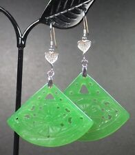 Dangle Fan Lotus Flower Ruyi 293739 Green 925 Sterling Silver Jade Earring