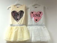 Kids Girls Summer Tunic Tutu Dress Casual Party Sundress Heart Sequin Top 3-14Y