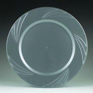 "Newbury Silver Plastic Dinner Plates 10.75"" 15 Pack Silver Plastic Tableware"