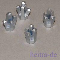LEGO - 4 x Kristall 1x1 mit 5 Zacken metallic silber / Crystal / 52 NEUWARE
