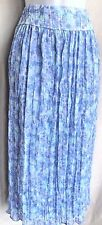 COLDWATER CREEK Aqua Lilac Floral Maxi Skirt Lined Sz 6 Sequins Crinkle Pleated