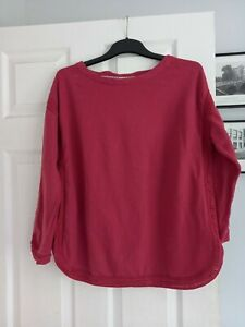 WHITE STUFF SIZE 14 DARK DUSKY PINK LONG SLEEVE TOP RIBBED ROPE DETAIL