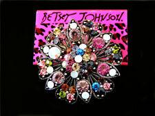 flower Charm Woman Brooch Pin Betsey Johnson Jewelry Rhinestone Corsage