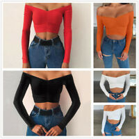 Womens Sexy Slim Off Shoulder Crop Tops Ladies Tunic T-Shirt Long Sleeve Blouse