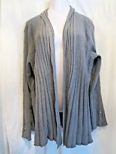 New LANE BRYANT Ribbed Shawl Collar Fluted Cardigan Sweater Overpiece Gray 22/24
