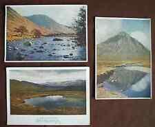 3 vintage 1930s Medici Society postcards Scotland Cairngorms Glencoe Glen Lyon
