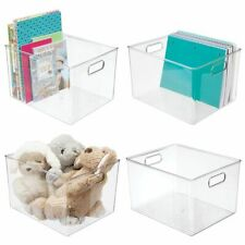 mDesign Storage Organizer Bin with Handles for Cube Furniture, 4 Pack - Clear