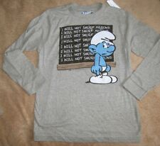The SMURFS *I will not smurf around!** Gray L/S Tee T-Shirt Boys sz 7/8