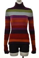 Cashmere Studio Womens Sweater Size 1 Purple Pink Striped Mock Neck Long Sleeve