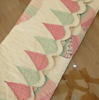 Linens Quilt Cover Bedspread Hand Stitched DRESDEN Pink Cream 60x79 Light Green