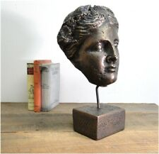 Vesuvius Bust Statue Sculpture on Pedestal and Pole Face w Bronze Finish