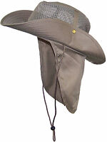 Summer Wide Brim Mesh Safari/Outback Hat W/Neck Flap #982 Tan XXL
