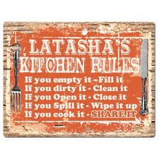 PPKR0508 LATASHA'S KITCHEN RULES Chic Sign Home Kitchen Decor Gift ideas