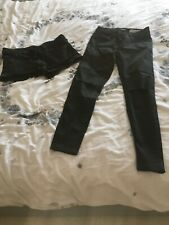 New Look Super Skinny Petite Black Ripped Jeans And Black Shorts Size 8 / 10
