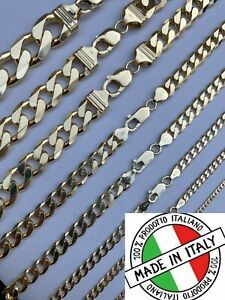 14k Gold Vermeil Solid 925 Sterling Silver Miami Cuban Chain Or Bracelet 2-16mm