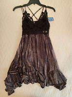New FREE PEOPLE FP One XS Adella Tie Dye Mini Slip Dress Lace Black Intimately