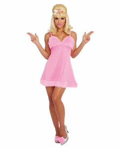 Fembot Womens Costume Dress Austin Powers Movie Sexy Spy 60s 90s Baby Doll Pink
