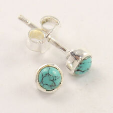 Free Shipping 0.99 Offer ! turquoise stud earrings 925 Silver 4mm round stone