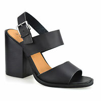 Ladies Womens Chunky Block Heel Slingback Ankle Strap Summer Sandals Shoes Size