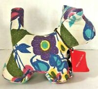 Monica Richards of London Paperweight Floral Canvas Dog Puppy MCM Design NEW!