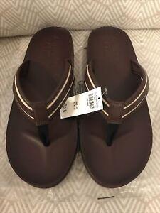 NWT Abercrombie & Fitch Leather Flip Flops Sandals Mens XXL Sz US 12 -13.5 Brown