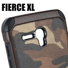 Alcatel One Touch Fierce XL -HARD RUBBER HYBRID ARMOR CASE BROWN CAMOUFLAGE ARMY