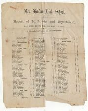 RARE 1865 NEW BEDFORD HIGH SCHOOL Scholarship Report STUDENTS Grades ROSTER List