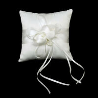 1Pc Bow Ring Small Pillow Mini Ring Cushion Ribbon Wedding Decoration White New