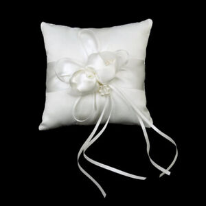 1Pc Mini Ring Cushion Ribbon Bow Ring Small Pillow Wedding Decoration White New