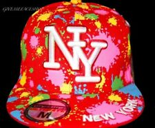 Red splash fitted cap, hip hop urban bling hat, flat brim paint street dance m