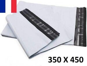 5X Enveloppe Plastique 350x450+40mm Adhésif Blanche Opaque Indéchirable 60u