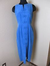 Adrianna Papell Dress Petite Sleeveless Silk Slit Front Blue Size 8