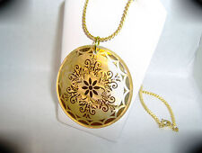 """Mother of Pearl Floral Pendant with 18"""" Gold Plated Chain...by Chubbychick"""
