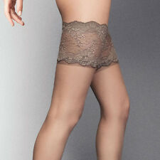 "White (Bridal)  Black Visone Deep Lace Top Hold Ups ""Desiderio"" 20 Denier"
