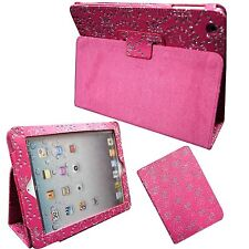 CASE FOR APPLE IPAD 2 3 4 GLITTER PINK BUTTERFLY FLOWER PU LEATHER COVER