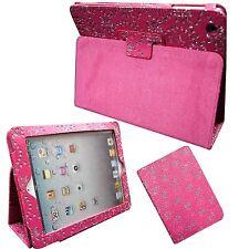Funda para apple IPAD 2 3 4 Purpurina Rosa Mariposa Flor PU Funda Piel
