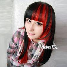 Zipper Lolita Cosplay Anime Perücke Wig Lang Glatt Schwarz-Rot Party Haare