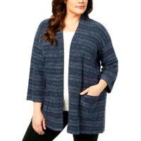 Eileen Fisher Women's Striped Sleeves Kimono Cardigan Jacket Blue Denim XL $398