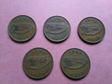 Irish One Penny coins 1941, 1942, 1943, 1946, 1948 Eire, Ireland