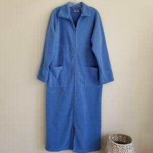 L.L. Bean Fleece Bathrobe Womens Medium Zip Front Pockets Blue